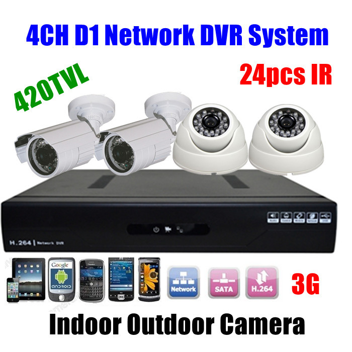 4CH CCTV Surveillance DVR Day Night Weatherproof ir Outdoor Home Security Camera System(China (Mainland))