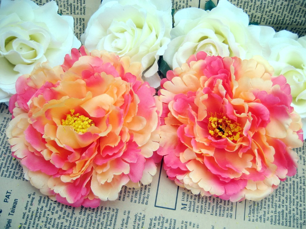 "2pcs yellow peony Head Artificial Silk Flower Heads Craft Wedding bride garden decor party 4.8""/12cm sf107(China (Mainland))"