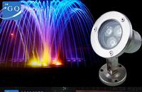 3W 12V led RGB underwater spotlight flood light fish-pond fountain colorful landscape lamp waterproof outdoor lighting free ship