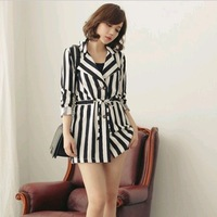 New fashionY245 spring-autumn blends women sashes stripe printed soft material slim long tops tees wholesale and retail