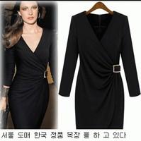 Sexy Woman Mini Dress Long Sleeve V-Neck Slim Waist Mini Vestidos Female 9977
