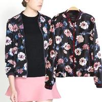 2014 new arrival women slim floral pattern jacket lady vintage zipper cardigan outerwear baseball jacket