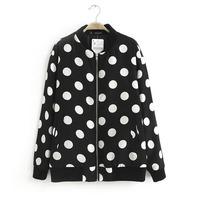 2014 wholesale newest fashion women polka dot print slim jacket lady long sleeve zipper cardigan outerwear