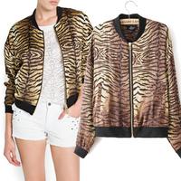 2014 new arrival women slim tigrina print jacket lady vintage zipper cardigan outerwear double pocekts Tiger stripes punk coat