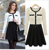 Noble Female Winter Knitting Dress Bodycon Long Sleeve Elegant Warm Short Dresses Mixed Color Vestidos Vintage MG8095A