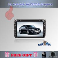 Koaosn For Android 8 inch vw Skoda Polo Jetta Tiguan Golf 5 6 Bora Touran Passat B6 B7 dvd gps with radio Capacitive screen