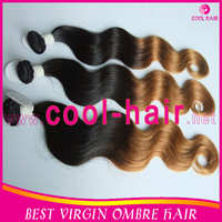 3 pieces two tone color  1B/27 Brazilian Ombre hair extension body wave free shipping