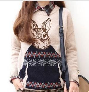 Симпатичные мода г-н кролик свитера зима новый женщин вязать кардиган Camisolas широкий пуловеры свитер дамы с длинными рукавами Sudaderas