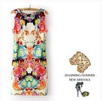 Angelababy star style fashion slim waist sleeveless vintage flower one-piece dress 6815