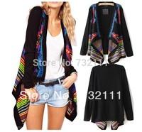New Women's Floral Pattern Cloak Long Sleeves Loose Cardigan Knit Sweater Top