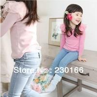 New Arrival 2014 Spring / Autumn Kids Girls Jeans Pants Elastic Woven Fabric Children Pants Baby Girls Jeans 100-140cm K2014004