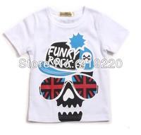 The cheapest white Skeleton logo retails summer children kids boys girl's tees t shirt fashion children t shirt free shipping