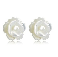 Wholesale & Retail for 100% Guaranteed Full 925 Sterling Silver White Fritillaria Flower Stud Earrings ,Top Quality!!
