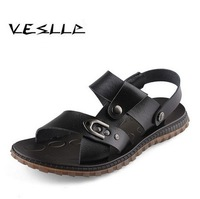 Vesiip male casual summer sandals men popular leather sandals cool and comfortable beach slides for men free shipping