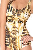 2015 New Fashion Gold Egyptian Pharaoh pattern sexy Swimsuit Suit Bikini Swimwear Milk Silk Swimsuit  hot sale Free Shipping