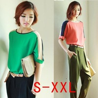 New 2014 spring  chiffon  shirt short-sleeve shirt womens loose Blouses tops S-XXL