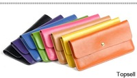 women's Genuine leather envelope clutch bag long leather Wallet Ladies designer Purse Checkbook Handbag drop shipping