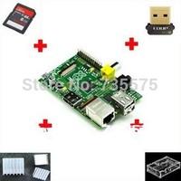 1set=7pcs 7 IN 1 Rev 2.0 512 ARM Raspberry Pi + 3 heat sinks + 1 board case +1usb network card+ 1 8G SD Card