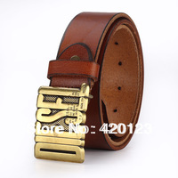2014 New letters metal buckle genuine leather cowskin first layer leather men belt  jeans belts
