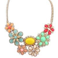 2014 Spring Hot Fashion Jewelry,Women Gold Chain Crystal Resin Bohemian Flower Statement Bib Choker Necklace Gift Free Shipping