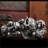 Wholesale Stainless Steel High Quality Men's Garo Skull Exaggerate Bangle Biker Jewelry