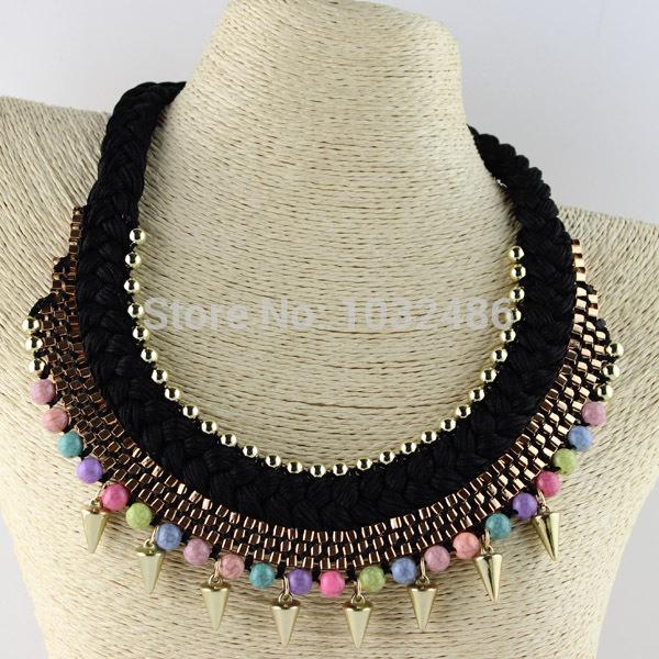Wedding Bride Sennit Rope Chain Jewelry Spike Bead Drop Pendant Choker Necklace(China (Mainland))