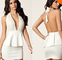 New 2014 dresses women's European and American popular nightclub sexy package hip Slim sleeveless lace halter dress big V