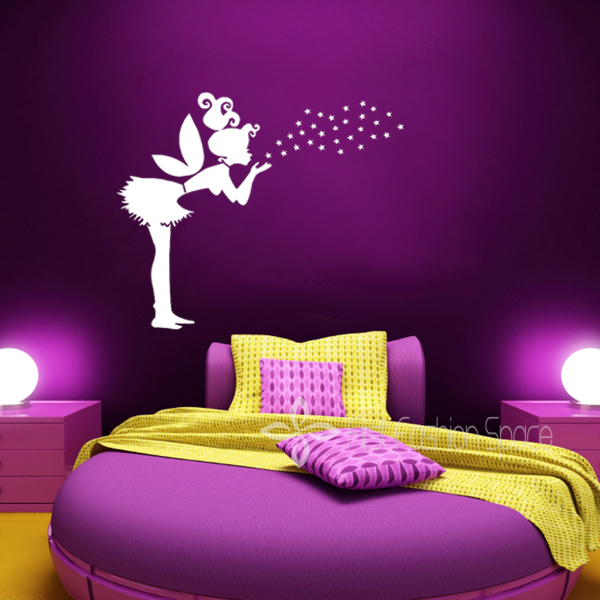 cartoon girls with stars children bedroom vinyl wall decals wall