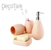 Egg-shelling ceramic bathroom sets four pieces set quality bathroom set housewarming gift  wedding gift box optional 6 colors