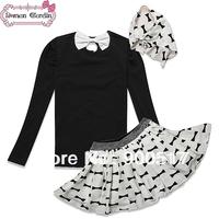 2014 NEW girls 3 pcs sets kids triangular bandage + long sleeve T-shirt + dot skirt  outfits children spring suite
