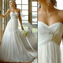 Vestido de noiva 2015 modische kleidung weiß/elfenbein eine- line chiffon romantische brautkleid vestido de casamento gewand de mariage(China (Mainland))