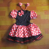 New Kids Girls Party Fancy mini mouse costume dress for girl Ballet Tutu Dress+Ear 2-9Y 90-160cm girls dress