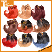"5A Ombre Brazilian Virgin Hair Body Wave Short 6"" Wavy Weave 1B 350 Blonde Red Blue 99j 27 33 Two Tone Human Hair Extensions"