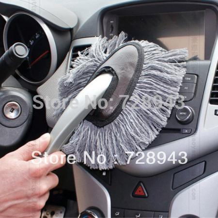 Super Sale!! 1 PiecesMulti-functional Car Duster Cleaning Dirt Dust Clean Brush Dusting Tool Mop Gray Free shipping(China (Mainland))