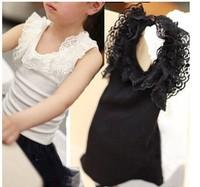 2013 Girls Summer lace t-shirt stretch cotton vest wild essential black white lace vest Kids children clothing kids T shirts