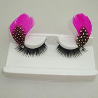 3 pair /lotProfessional fashion multicolour feather long lips buddhistan red dot polka dot false eyelashes