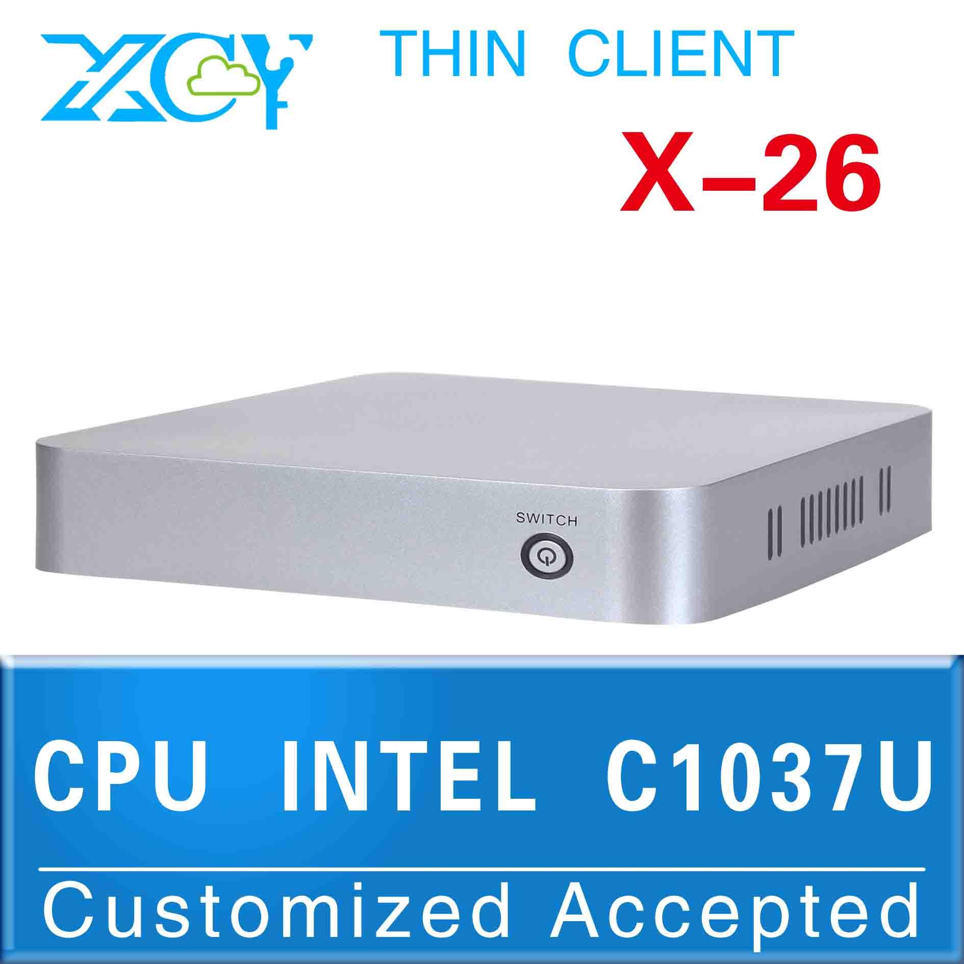 Haute performance c1037u 1.8 ghz xcy x-26 boîtier de l'ordinateur mini pc avec ventilateur support bluetooth audiointégré