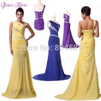 Elegant Grace Karin Long One Shoulder Chiffon Ball Pageant Prom Wedding Party Formal Maxi Evening Gowns Dress Mermaid GK4971