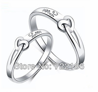 2014 Fashion Romantic  Gift Sweet Heart Love Letter Design Sterling Silver Wedding Couple Finger Rings