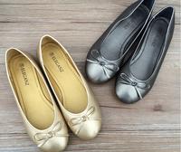 PU shoes woman fashion simple and stylish flat bow shoes women flats
