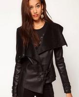 Nalula 2013 New Fashion Women Irregular Washed PU Leather Suede Knitted Stitching Leather Jacket Free Shipping