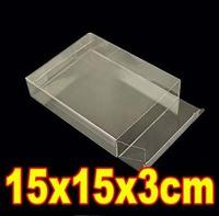 15x15x3cm transparent plastic pvc folding display box fruit packing box (over 500pcs can silk screen printing on box )