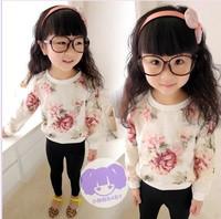 2014 Autumn New children watercolor flower t-shirt girls princess tops kids long sleeve t -shirt A4556