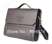 2014 Fashion POLO men briefcase male PU leather shoulder messenger bag commercial casual handbag horizontal,Free shipping