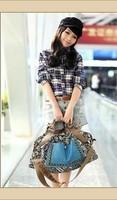 Women Personality Ethnic Fashion Canvas Printing Rivet Handbag Shoulder Cross-body Messenger Bag