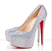New 2014 Fashion Women Glitter Rhinestone Platform Pump High HeelS Wedding Bridal Shoes Red/Silver Color Free Shipping