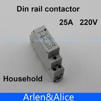 CT1 2P 25A 220V/230V 50/60HZ Din rail Household ac contactor  2NO