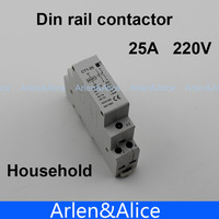 CT1 2P 25A 220V/230V 50/60HZ Din rail Household ac contactor  2NO