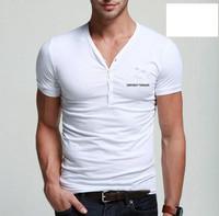 Single Button Embellished Short Mens Summer Cotton Shirts Simple Design Collar Summer Cotton Shirts for Man