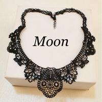 Black Alloy Hollow Flower Crystal Gem False Collar Choker Statement Necklaces & Pendants Fashion Jewelry Women Wholesale N154